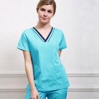 Женская спецодежда v-образным вырезом с короткими рукавами рубашка Цвет Блокировка дизайн костюм врача медицинская Униформа (просто топ)