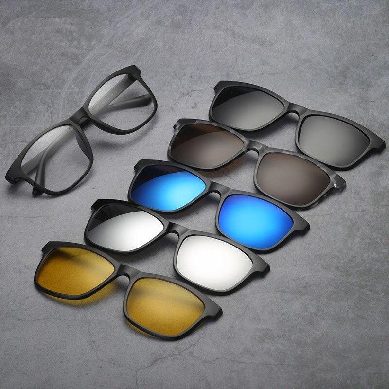 Cubojue 5 Lens Clip on Polarized Sunglasses Men Women Magnetic for Myopia Diopter 1.56 1.61 1.67 Photochromic Progressive male