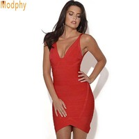 Women Sexy V Neck Backless HL Vest Celebrity Bandage Dress Fashion Summer Wear Sleeveless Red Color