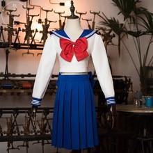 Аниме Сейлор Мун Усаги симпатичное платье для вечеринок белого и синего цвета с бантом Косплэй костюм o