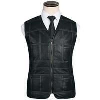 New Fashion Leather Vest Men's Suit Leather Waistcoat Winter Sheepskin Vests Genuine Leather Patchwork Tops Plus Size XL XXXXXL
