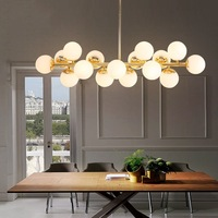 16 Heads Postmodern Gold Loft Pendant Light Art Creative Magic Beans Hang Light Dining Room Bar Kitchen Led Light Free Shipping