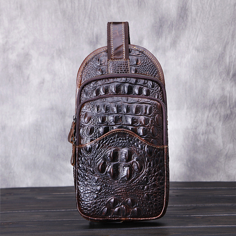 KUNDUI Famous Crocodile Grain Men Chest Pack Sling Single Shoulder Strap Genuine Leather Travel Bag Fashion Handbag Rucksack
