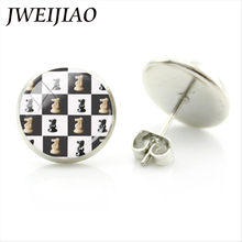 Jweijiao Fashion Aku Cinta Catur Anting-Anting Knight Castle Stud Anting-Anting Kepribadian Internasional Pecinta Catur Telinga Stud Anting-Anting CH15(China)