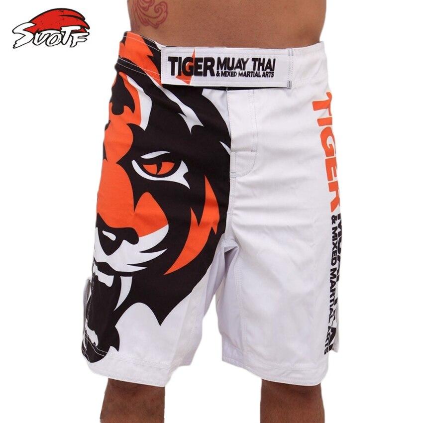 Prix pour SUOTF Le nouveau Blanc Tiger Muay Thai MMA Shorts de Combat de boxe muay thai short de boxe bad boy vêtements de boxe muay thai short