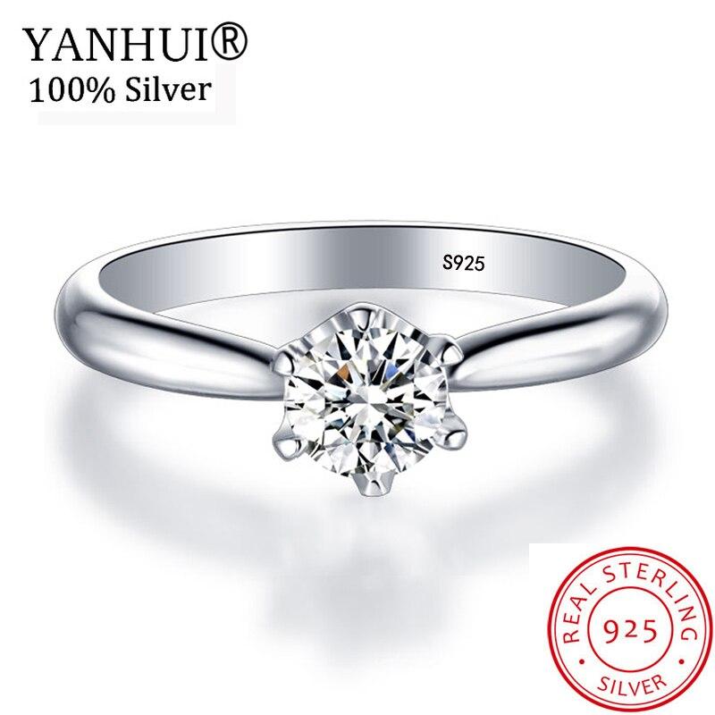YANHUI 1 Quilates Anel Solitário de Luxo Originais 925 Sólidos Anéis De Casamento De Prata Para As Mulheres Reais 6mm Zircon CZ Engagement anéis JZ040