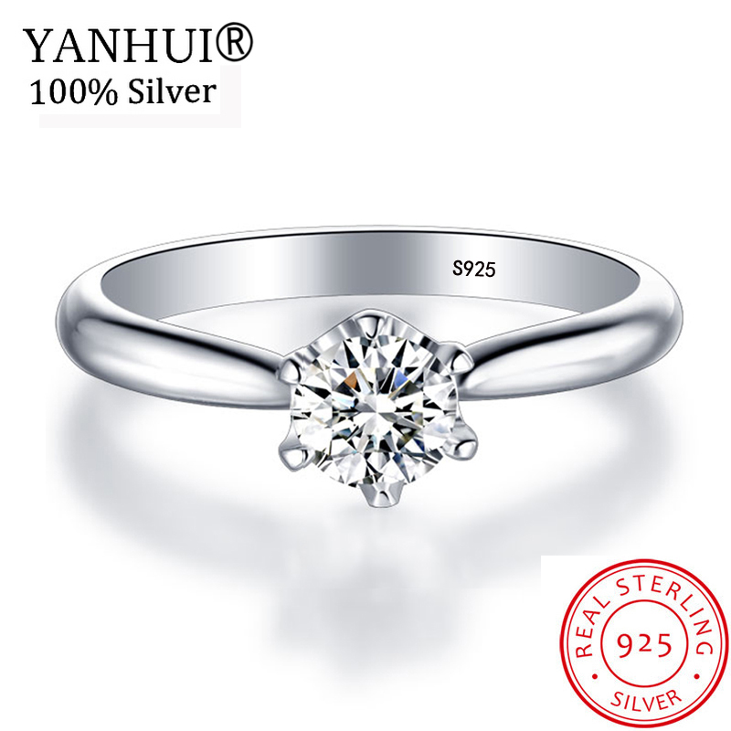 YANHUI Luxury 1 Carat Solitaire Ring Original 925 Solid Silver Wedding Rings For Women Real 6mm Zircon CZ Engagement Rings JZ040 big promotion 100% original 925 silver wedding rings for women natural solitaire 6mm cz diamant engagement rings jewelry rj003