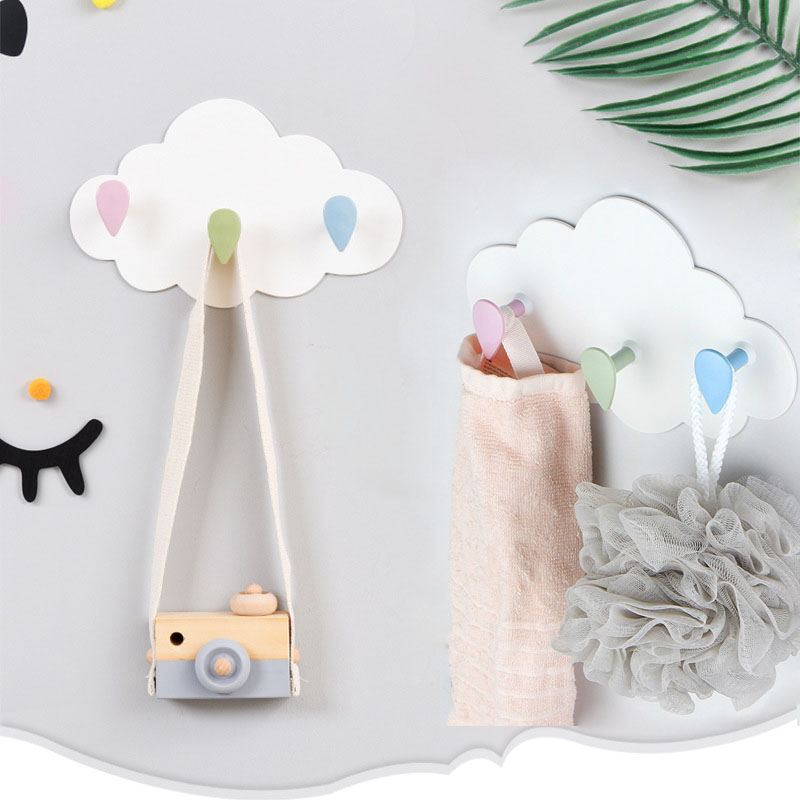 Cute Clouds Wall Hook Creative Self Adhesive Hook Key Holder Coat Hanger Storage Hanger Bathroom Rack Kids Room Home Decor