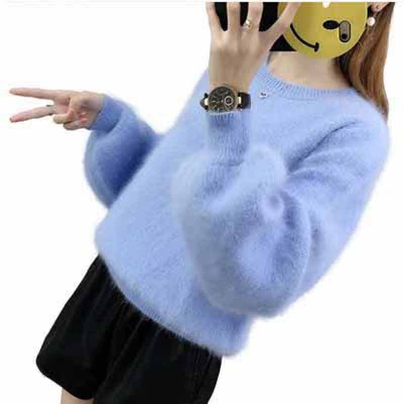 Mink Cashmere Sweater Women  Cashmere Pullovers Knitted Pure Mink  Customized Color Free ShippingM19011