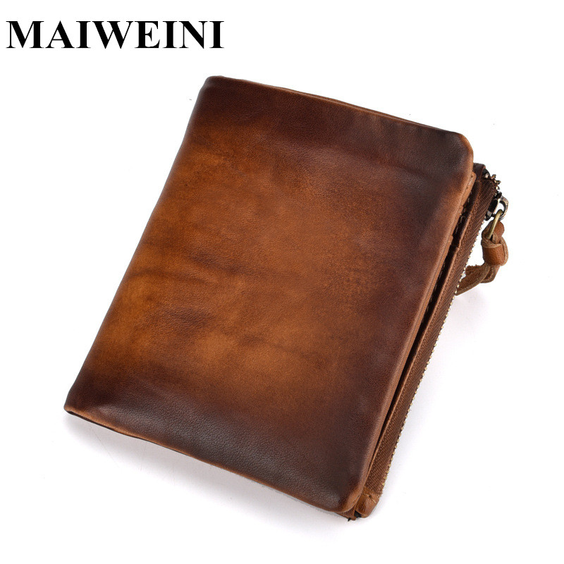 Brand New Genuine Leather Men Wallet Short Coin Purse Small Vintage Wallets High Quality Cow Leather Male Wallet 2017 new wallet small coin purse short men wallets genuine leather men purse wallet brand purse vintage men leather wallet page 2