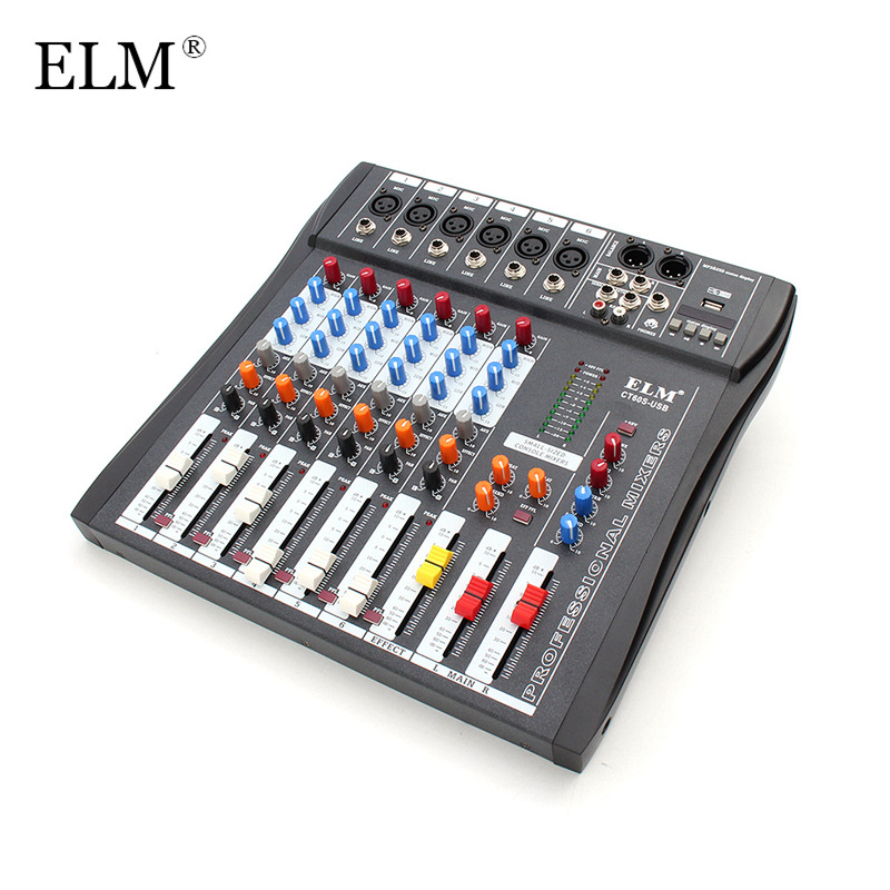 elm professional karaoke audio digital sound mixing amplifier microphone mixer console 6 channel. Black Bedroom Furniture Sets. Home Design Ideas