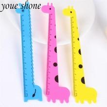 3pcs/15cm Straight Ruler Korean Stationery Kawaii Giraffe Series PVC Cartoon Learning Office School Supplies