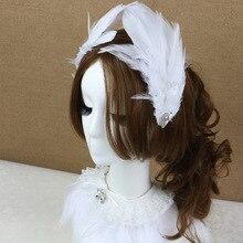 Элегантный женский головной убор с ангелом для банкета, перьями, орнаментом, Винтажный зажим для волос для свадебной вечеринки, шпилька, аксессуары, 1 шт