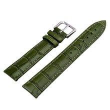 Nuevo 2016 marca grado superior correa de la correa de cuero y acero inoxidable hebilla 12 – 24 mm verdes moda correa ventas al por mayor
