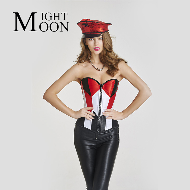 MOONIGHT Fashion Women Corselet Back Geometry 14 Plastic Bones White Red Hit Color Full Body Alluring Waist Corsets