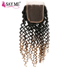 SAY ME Ombre Brazilian Kinky Curly Closure 1b/4/27 Blonde 3 Three Tone Free Part 4×4 Non Remy Human Hair Lace Closure Piece