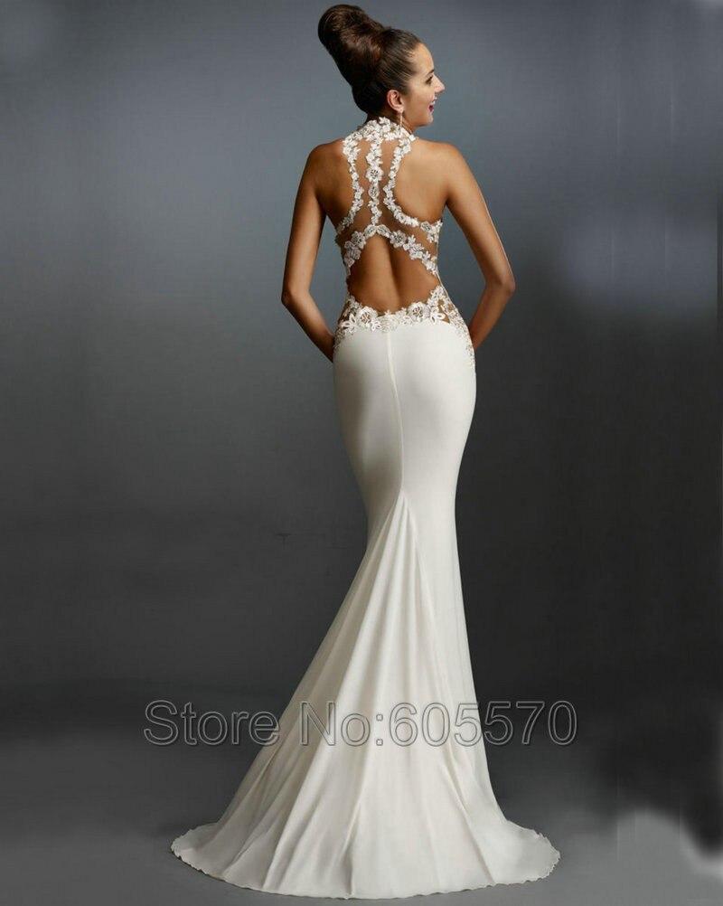 efd7928fe En Del Applique Formales Cuello Blanco Largos Espalda Alto Fiesta Noche  Vestidos De Vestido Satén Abierta q6UcA6wH