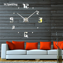 M.Sparkling wall clock brief design corridor living room bedroom 3D creative digital DIY mirror home decoration
