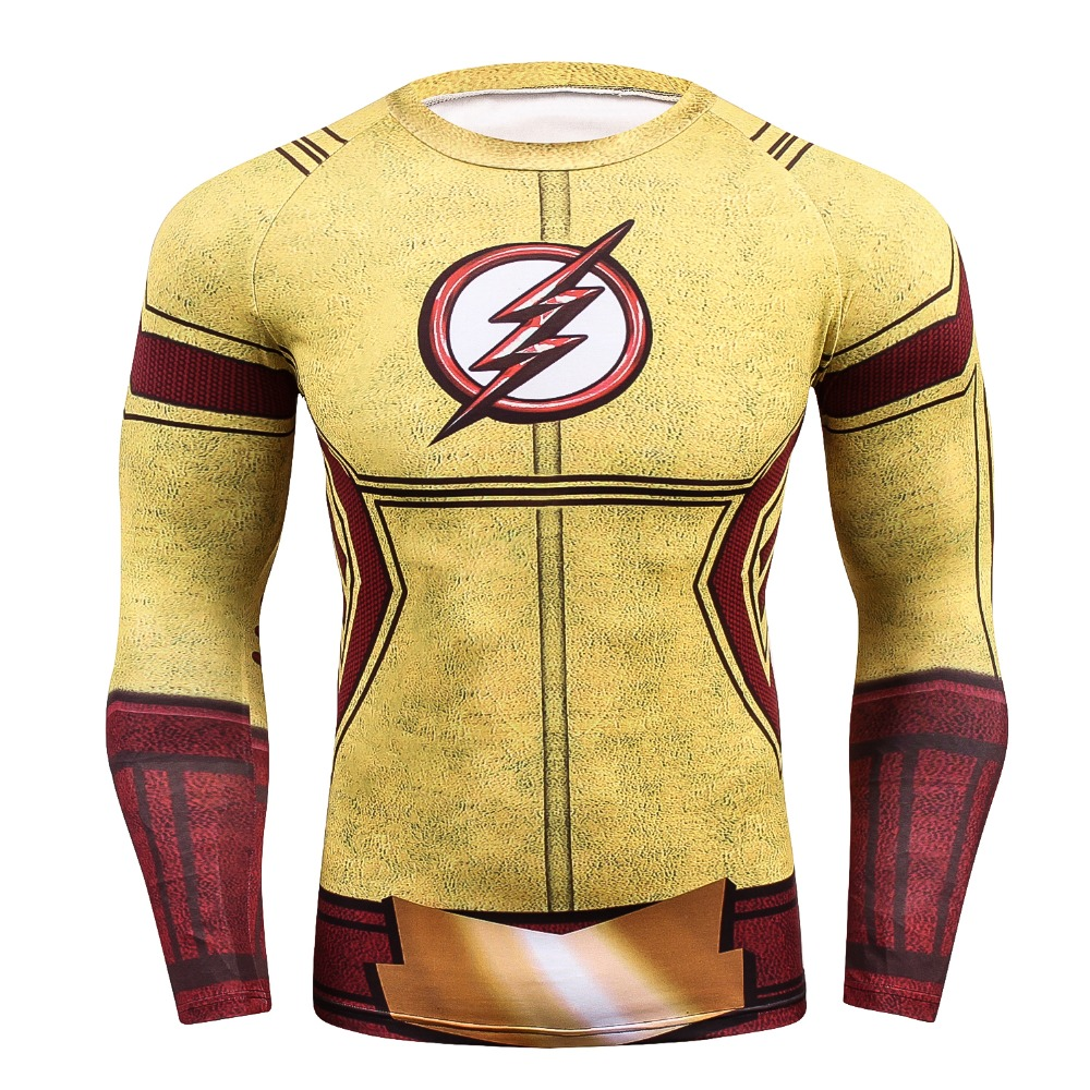 2018 The Flash T Shirt Men 3D Printed T-shirts Fitness Compression Shirt Crossfit Long Sleeve Slim Fit Top Tees Shirt