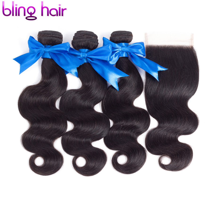 bling hair Body Wave Bundles with Closure Peruvian Hair Bundles With Closure 4 4 Swiss Lace