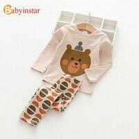 Baby Girl Set 2016 Spring Summer Girls Cartoon Stripes Sets Shirt Pants Sets Hello Kitty Children