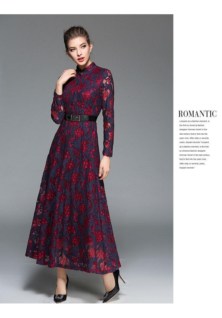 b3cea47927d D hiver Big D été 2018 Wrap Bourgogne Longues Automne Vintage Swing Mode Dentelle  Robe Casual Maxi Robes Femmes ...