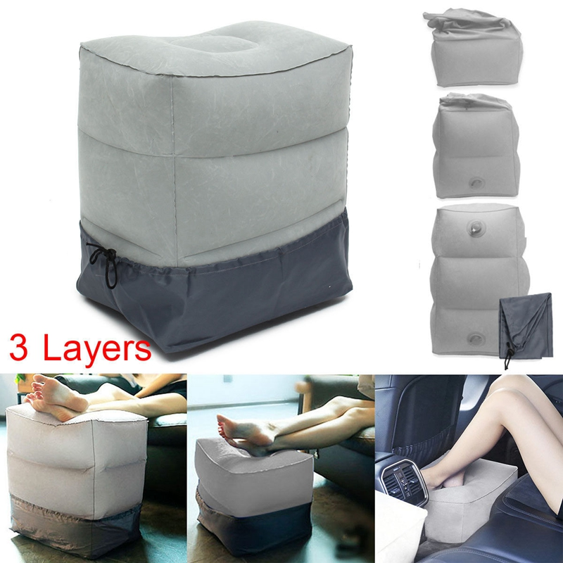 Inflatable Portable Travel Footrest Pillow Plane Train Kids Bed Foot Rest Pad Cushion