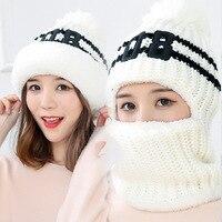 XIANXIANQING Women S Fashion Beanie Hat Winter Solid Mask Caps Grey Knitting Hats Faux Wool Bone