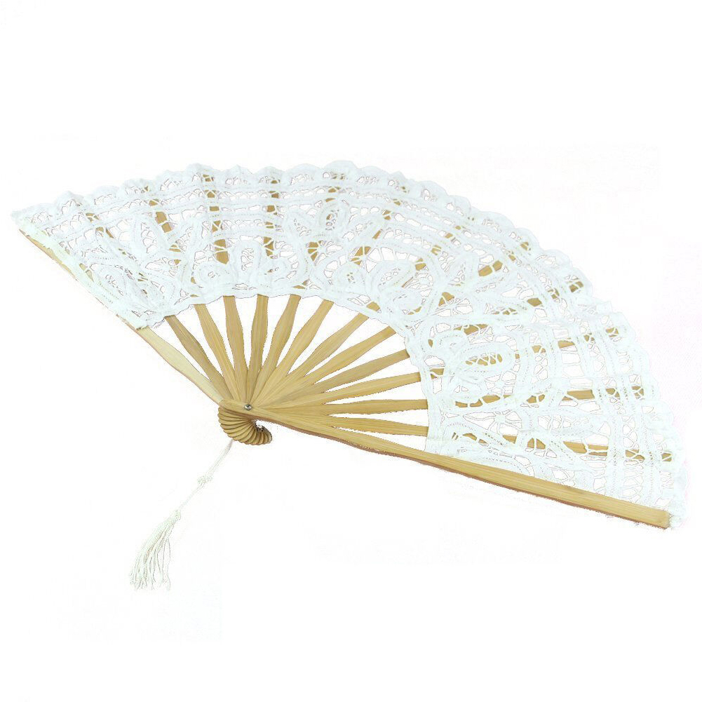 Folding Wedding Accessories Tassel Dancing Props Party Bamboo Bone Hollowed Out Exquisite Portable Lace Design Hand Fan Handmade