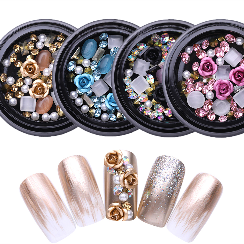 Продажа 1 коробка 3D Стразы разнообразные поделки драгоценные камни новые очаровательные микс украшения для ногтей Роза украшения гель блес...