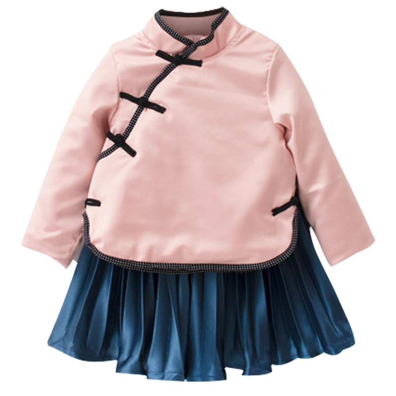 2017 autumn kids girls chinese traditional cotton wadded tops parkas+ pleated skirts Hanfu qipao dress costume for girls liang yuan 6 designs traditional chinese wedding qipao xiuhefu costume accessory bride hair accessory set