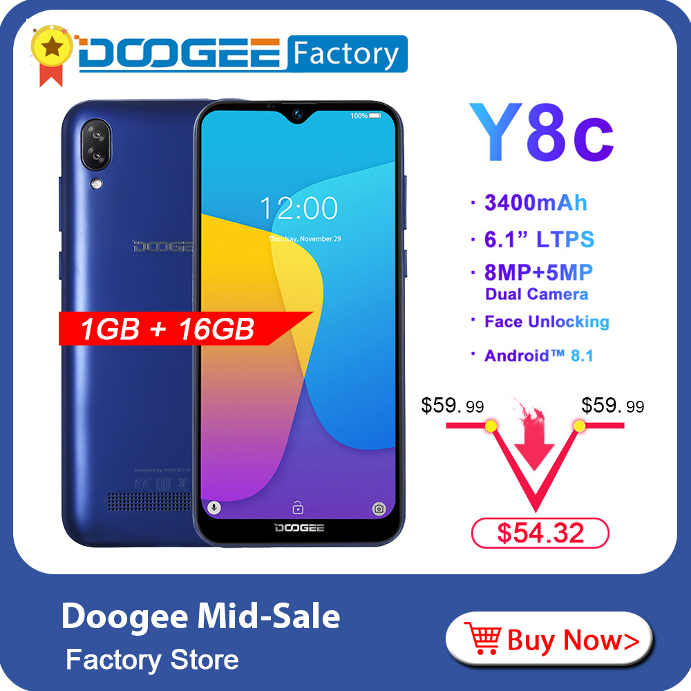 DOOGEE Y8c 6 1inch 19 9 Waterdrop LTPS Screen Smartphone Face unlocking 16GB ROM 8MP 5MP
