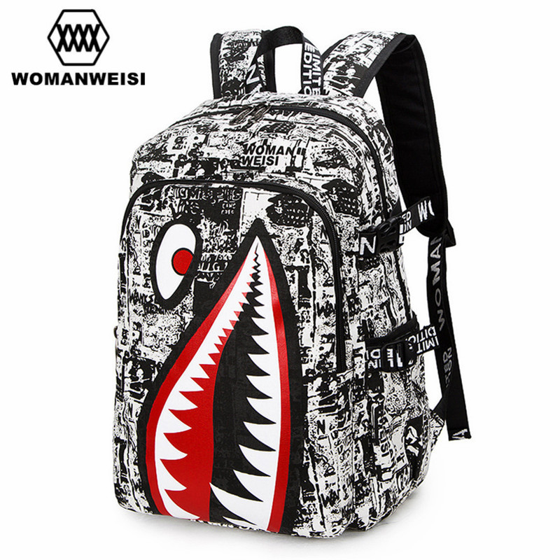 2017 Vintage Graffiti Anime Shark Printing Backpack Brand Designer Backpack For Teenage Boy Girl Women Men School Bags zaino graffiti classic boy 14 orange
