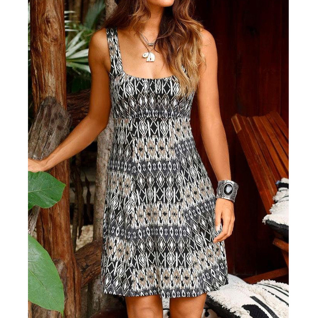 2019 Hot Sale Dresses Women Halter Sundress Neck Print Casual Dresses Boho Sleeveless Mini Beachwear Dress Sukienki Damskie