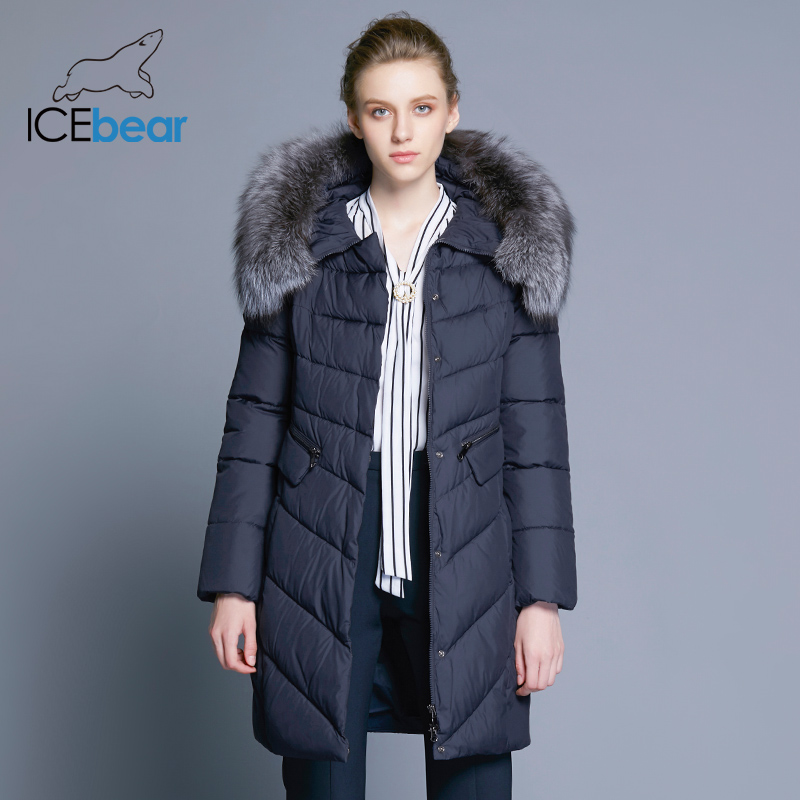 ICEbear 2017  Winter Coat Women High Quality Warm Detachable Fur Collar Pocket With Two-Way Zipper Casual Jackets 17G6560D new arrival fashion winter fur hooded collar long sleeves camouflage plus size mix colors thicken down jackets women coat h5778