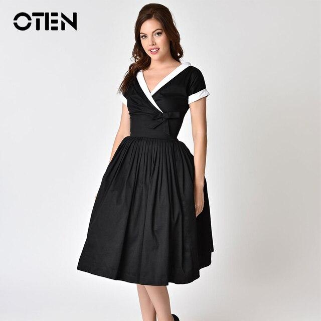 oten Women trending product 2018 Summer Fashion Clothing Short sleeve V  Neck Vintage retro 50s 60s rockabilly pin up swing dress ec4ee5b79c46
