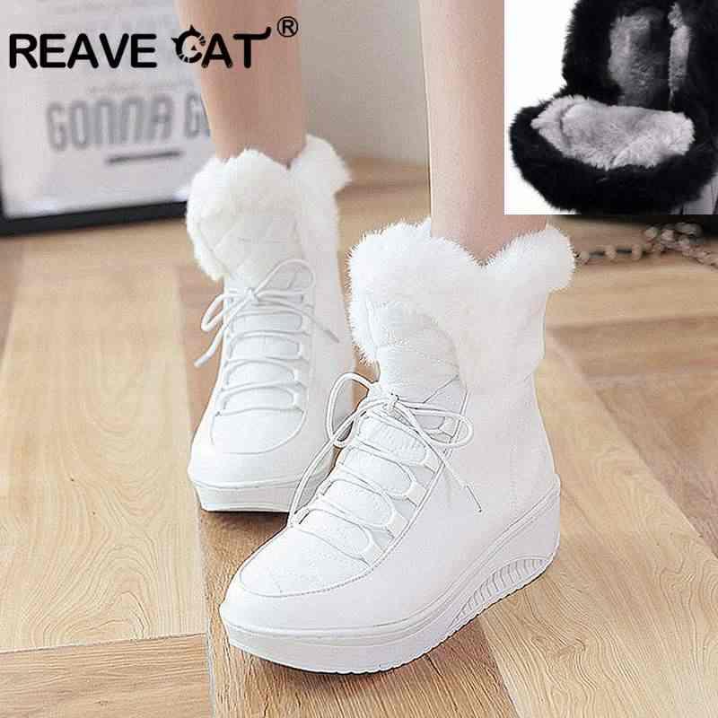 REAVE CAT 2020 yeni kış kar botları kalın kürk iç platform ayakkabılar kadın takozlar topuk kadın düz yarım çizmeler kadın ayakkabısı A812