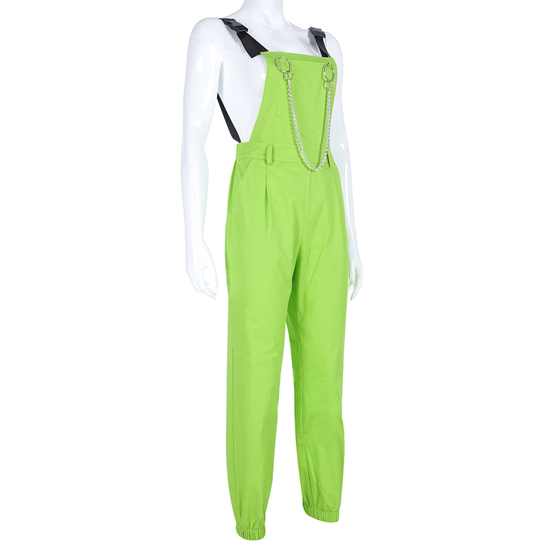 NCLAGEN Stylish jumpsuit Pockets Overalls Chains Buckles Women Suspenders Trousers Loose Streetwear Capris Female Casual Pants 41