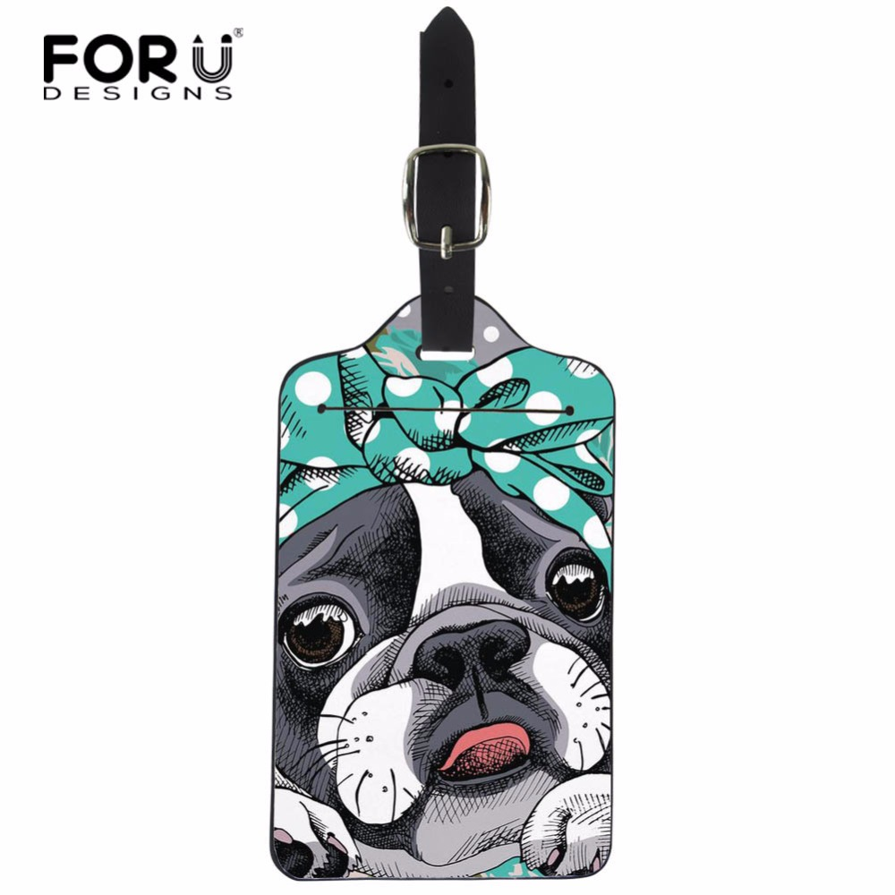 FORUDESIGNS PU Leather Adjustable Luggage Tags for Suitcase Lovely Boston Terrier Baggage Dog Printed Label Card Cover Bag