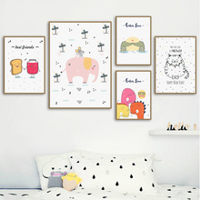 Cute Cartoon Print Giraffe Dinosaurs elephant Nursery Nordic Poster Wall Art Canvas Painting Wall Picture Baby Kids Room Decor animal cartoon poster giraffe elephant canvas painting nursery wall art nordic poster black and white picture kids room decor