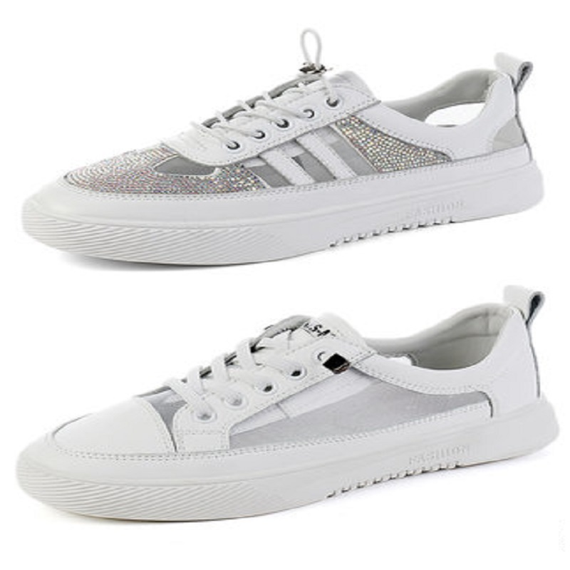 Small white shoes female 2019 summer with skirt summer breathable wild gas mesh leather flat bottom