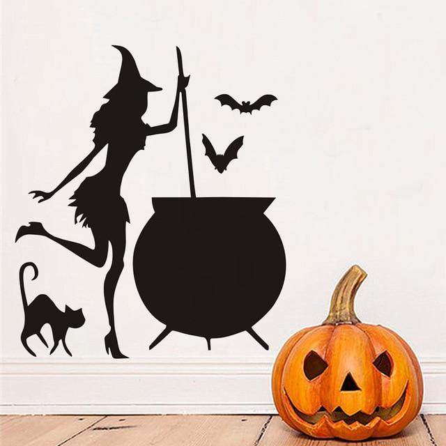 Halloween Witch Cauldron Potion Bats Black Cat Vinyl DIY Wall Stickers For  Living Room Art Decals Part 81