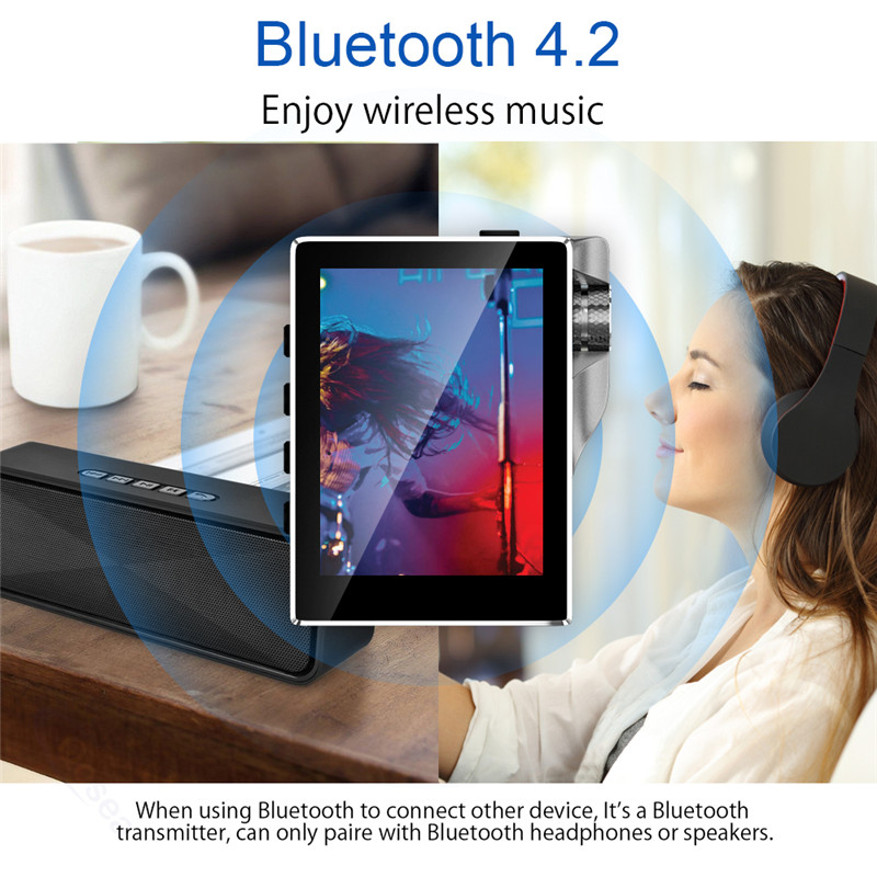 16GB 8GB MP3 Player with Bluetooth FM Radio HiFi Music Player High Resolution Lossless Digital Audio with Video E-Book Recording