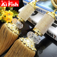 Class European Luxury Small Crystal Diamonds Curtain Hanging Ball Tie Strap Bands Pendant Tassel Curtain Accessory CP068 30