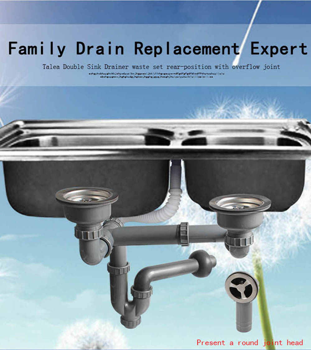 Talea Double kitchen sink drainer Sink Drain Pipe Rear position with ...