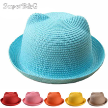 SuperB&G Straw Hats Kids Character Ear Decoration Summer Cap Baby Sun Hat For Girl Boys Bucket Cap For Children Beach Hat Panama(China)