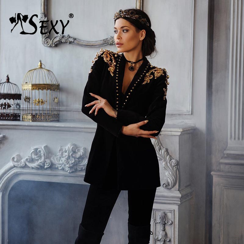 Gosexy 2019 New Women Black Blazers Single Button Long Sleeve Flowers Shoulders Office Lady Blazers Fashion V Neck Coat-in Blazers from Women's Clothing    1