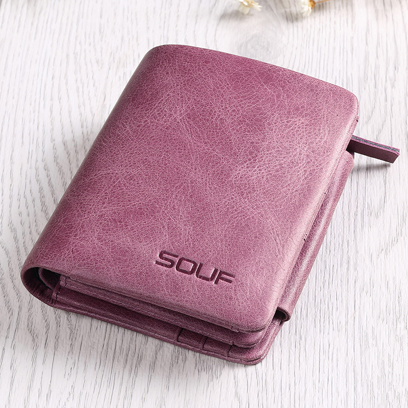 SOUF Women Brand Casual Brief Luxury Wallet Small Cowhide Classic Restoring Purse Vintage Female Genuine Leather Zipper Clutch пустышка bibi dental силикон дневная 6 16 мес basiccare drama queen bad boy