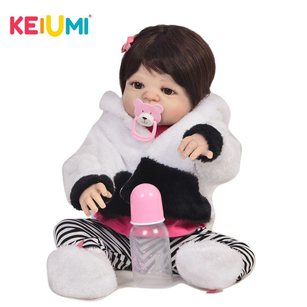 Venda quente 23 Polegada reborn bebê boneca de silicone completo corpo lifelike moda bebê renascer boneca boneca cosplay panda criança presente natal