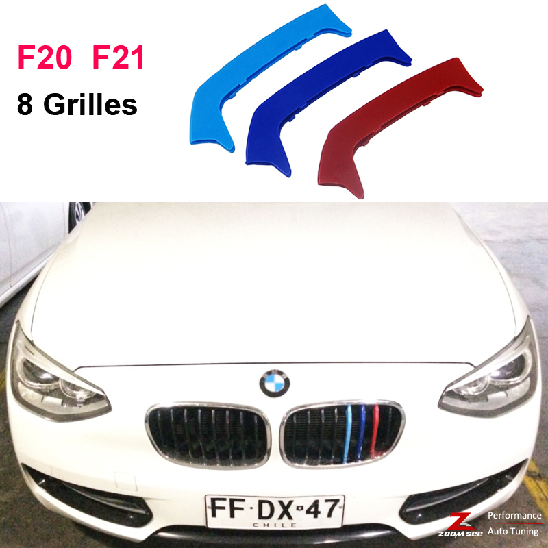 For 2012-2014 BMW 1 series F20 F21 (8 Grills) 3D Front Grille Motorsport Strip Grill Cover Cap Performance Sticker motorsport manager [pc jewel]